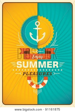 Summer poster in color. Vector illustration.