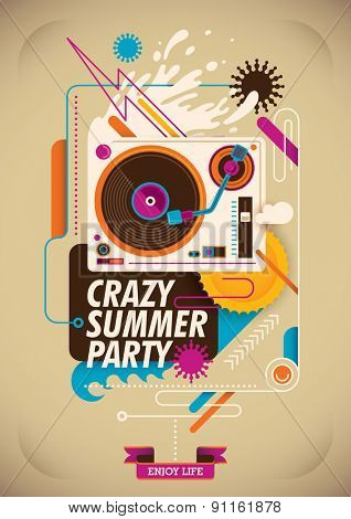Summer party poster with turntable. Vector illustration.