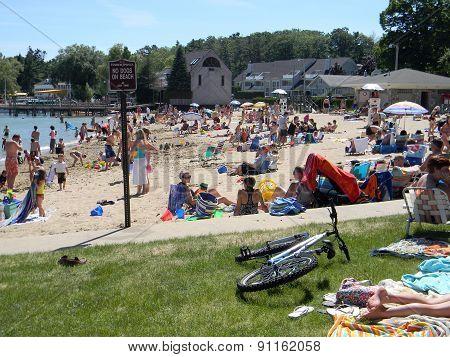 Sunbathers at the Zorn Park Beach