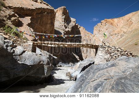 Canyon With Bridge - View From Zanskar Trek - Ladakh