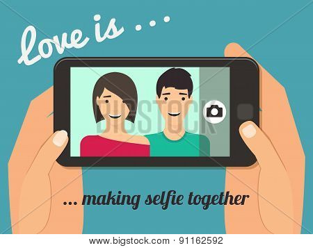 Couple taking selfie.
