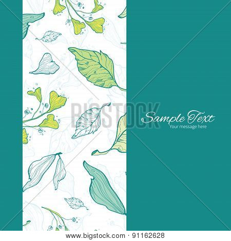 Vector Lineart Spring Leaves Vertical Frame Seamless Pattern Background