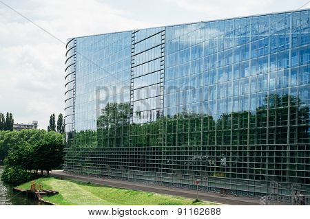 East Glass Facade Of The European Parliament