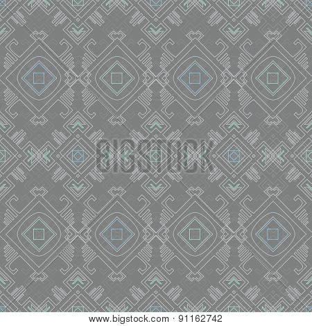 Vector tribal wire grey blue seamless pattern graphic design