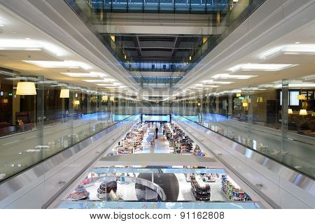 DUBAI, UAE - MARCH 31, 2015: Emirates first class lounge. Dubai International Airport is an international airport serving Dubai. It is a major airline hub in the Middle East