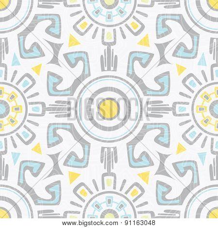 Vector grey blue yellow tribal seamless pattern