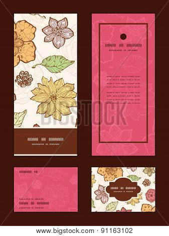 Vector warm fall lineart flowers vertical frame pattern invitation greeting, RSVP and thank you card