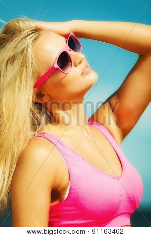 Beautiful Blonde Fitness Girl On Beach