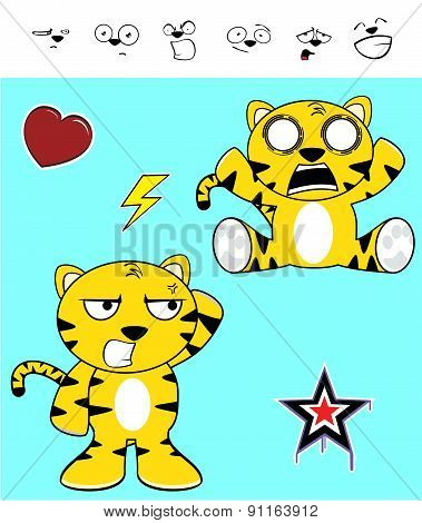 cute tiger expressions cartoon set