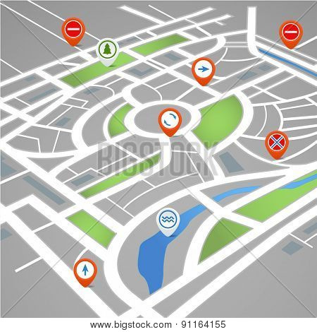 Perspective background of abstract city map with symbols. Raster version
