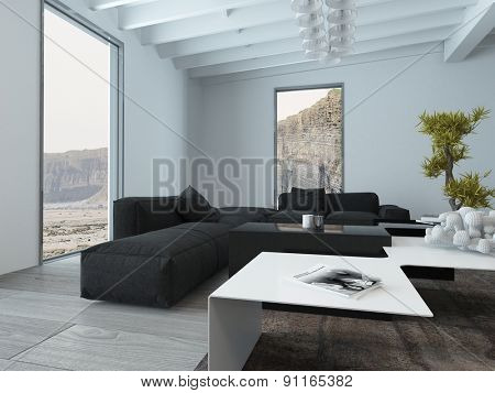 Interior of Living Room with Modern Furniture Sofa and Table and View of Cliffs Through Windows. 3d Rendering.