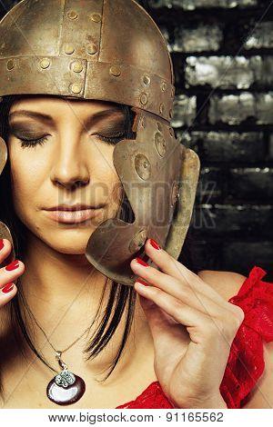 Pretty Girl In Roman Helmet