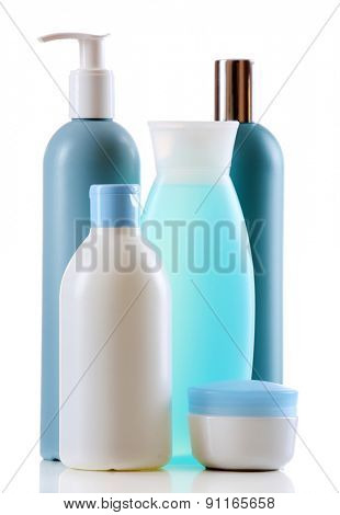 Cosmetic bottles isolated on white background