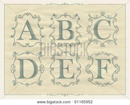 Vintage calligraphic letters in monogram retro frames, alphabet logos set - A, B, C, D, E, F
