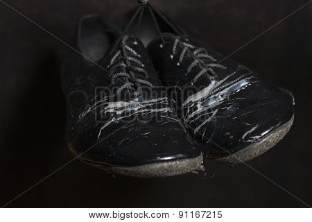 Closeup Shot of Pair of Worn-out Standard European Ballroom Dance Shoes
