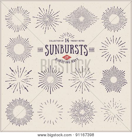 collection of trendy hand drawn retro sunburst/bursting rays design elements