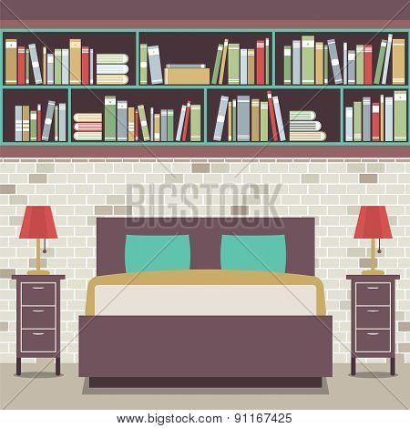 Modern Flat Design Twin Bedroom.