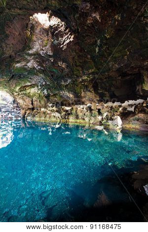 amazing Jameos del Agua inside, Lanzarote, Canary Islands, Spain