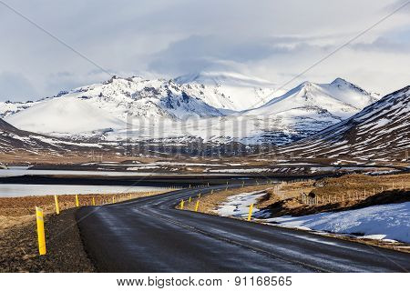 Impressive Snowy Volcano Landscape In Iceland
