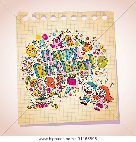 Happy Birthday kids note paper cartoon illustration