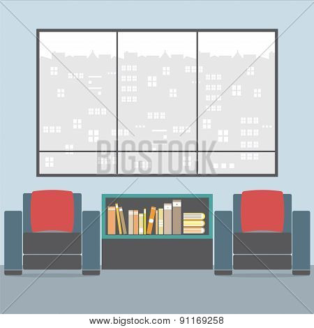 Sofas With Bookcase In Front Of Wide Glass Window.
