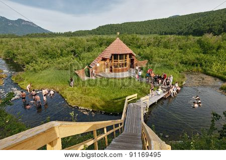 Goryacherechensky group hot springs. Nature park Nalychevo, Kamchatka