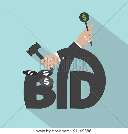 Auction Or Bid Typography Design.