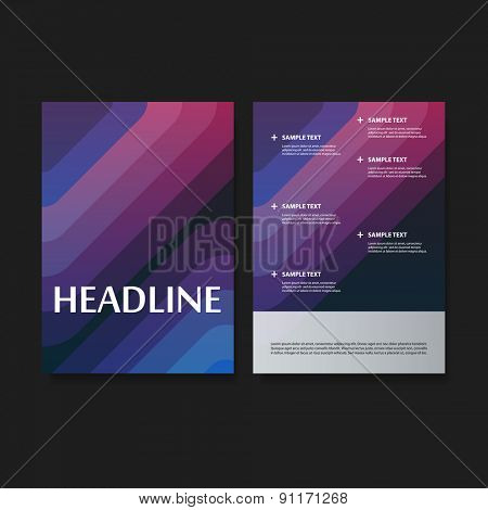 Flyer or Cover Design Set for Your Business - Colorful Striped Pattern