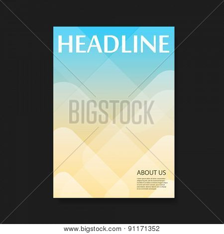 Flyer or Cover Design with Blue and Yellow Background
