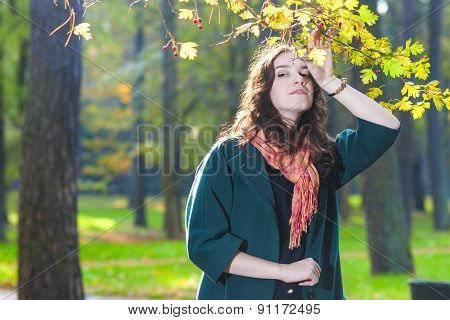 Female Model Standing In Fall Forest Outdoors.