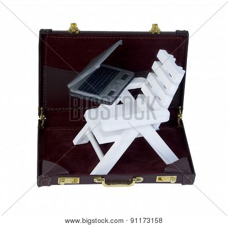 Beach Chair And Laptop In A Briefcase