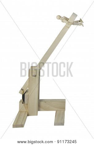 Person In A Wooden Catapult