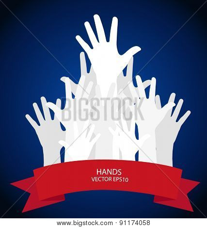Raised hands. Vector illustration.