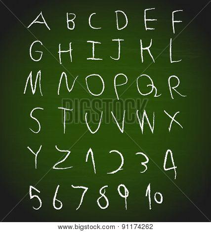 Chalk hand drawing alphabet design, vector illustration.