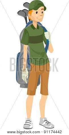 Illustration of a Caddy with a Golf Bag Strung to His Back