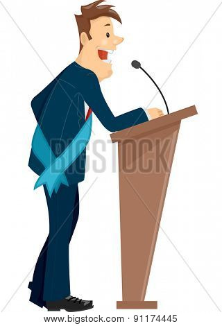 Illustration of a Man Wearing a Sash Standing Behind a Podium Delivering a Speech