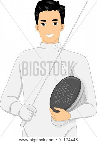 Illustration of a Fencer Holding a Fencing Stick in One Hand and a Face Mask in the Other