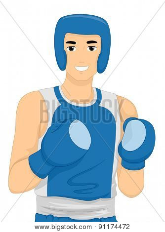 Illustration of a Boxer Wearing Protective Gear
