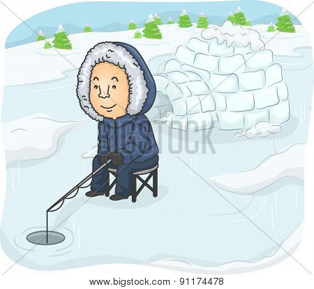 Illustration of a Man Trying to Catch Some Fish Near an Igloo