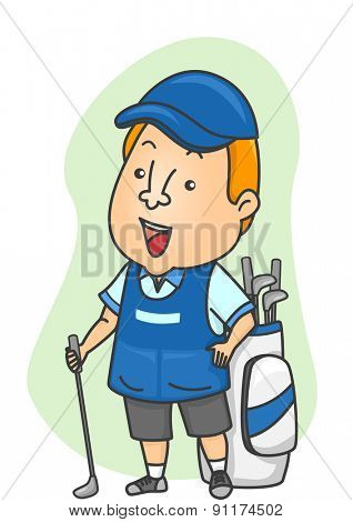 Illustration of a Caddy Standing Beside a Golf Bag