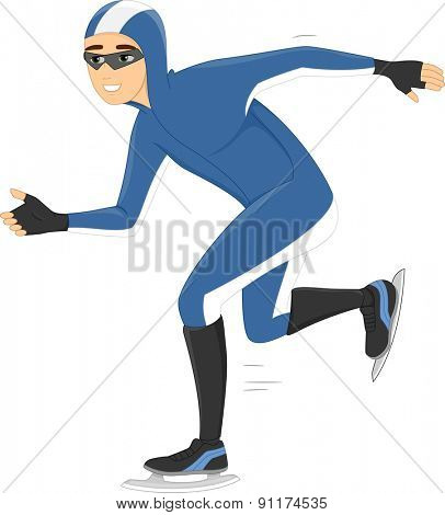 Illustration of a Speed Skater Smoothly Gliding on Ice