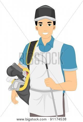 Illustration of a Caddy Carrying a Golf Bag and a Golf Club