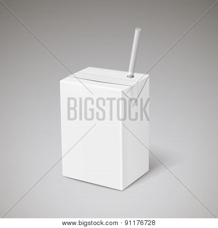 Blank Drink Box Template With Straw
