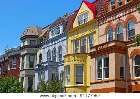Luxury townhouses of Washington DC USA.