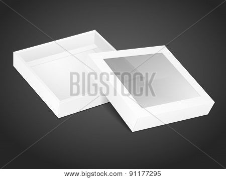 Blank Opened Cardboard Box With Transparent Window