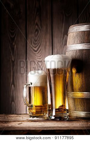 Tall glass and mug beer
