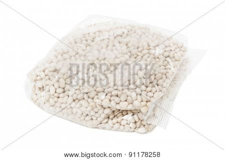 packaged beans on a white background