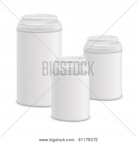 White Round Tin Packaging Set