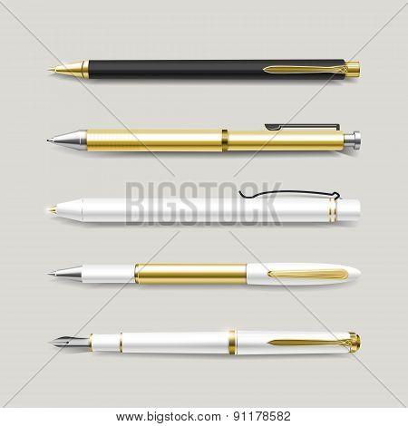 Graceful Gold Pens Set