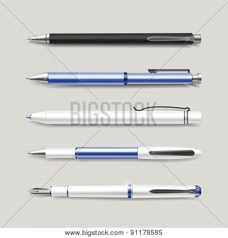 Graceful Blue Pens Set
